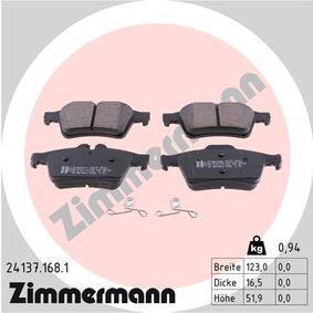 D10958248 ZIMMERMANN Höhe: 51,9mm, Breite: 123,0mm, Dicke/Stärke: 16,5mm Bremsbelagsatz, Scheibenbremse 24137.168.1 günstig kaufen