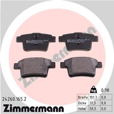 Bremsbelagsatz ZIMMERMANN 24260.165.2