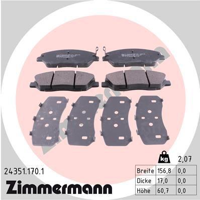 Bremsbelagsatz Scheibenbremse ZIMMERMANN 24351.170.1