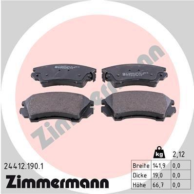ZIMMERMANN: Original Bremsbelagsatz 24412.190.1 (Höhe: 67mm, Breite: 142mm, Dicke/Stärke: 19mm)