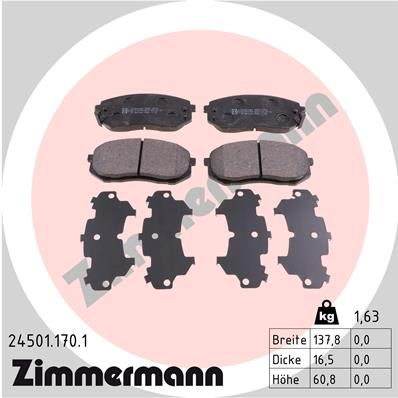 KIA SPORTAGE 2018 Bremssteine - Original ZIMMERMANN 24501.170.1 Höhe: 61mm, Breite: 138mm, Dicke/Stärke: 16mm