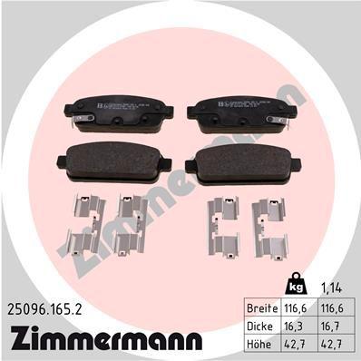 Bremsbelagsatz Scheibenbremse ZIMMERMANN 25096.165.2