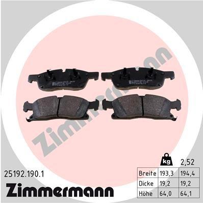 Bremsklötze ZIMMERMANN 25192.190.1