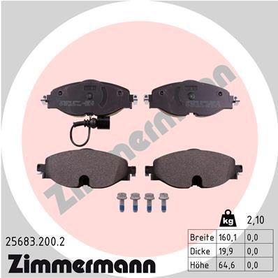 ZIMMERMANN | Bremsbelagsatz, Scheibenbremse 25683.200.2