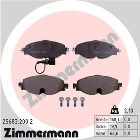 25086 ZIMMERMANN mit integriertem Verschleißsensor Höhe 1: 64,6mm, Breite 1: 160,1mm, Dicke/Stärke: 19,9mm Bremsbelagsatz, Scheibenbremse 25683.200.2 günstig kaufen