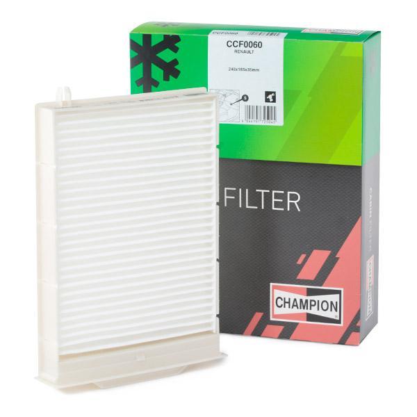 Pirkti CCF0060 CHAMPION dalelių filtras, žiedadulkių filtras plotis: 185mm, aukštis: 35mm, ilgis: 248mm Filtras, salono oras CCF0060 nebrangu