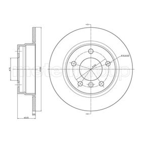800-229C CIFAM Solid, lackerad Ø: 280,0mm, Hålant.: 5, Bromsskivetjocklek: 10,0mm Bromsskiva 800-229C köp lågt pris
