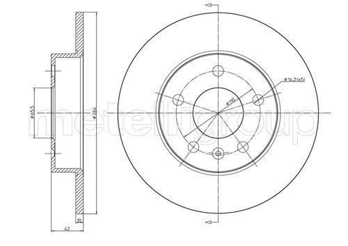 800-489C CIFAM plne, lakovane Ø: 264,0mm, Počet otvorov: 5, hrúbka brzdových kotúčov: 10,0mm Brzdový kotúč 800-489C kúpte si lacno