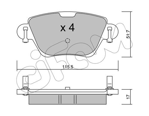 23557 CIFAM exkl. Verschleißwarnkontakt, nicht für Verschleißwarnanzeiger vorbereitet Dicke/Stärke 1: 17,0mm Bremsbelagsatz, Scheibenbremse 822-319-0 günstig kaufen