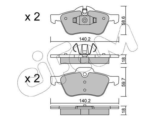 23282 CIFAM für Verschleißwarnanzeiger vorbereitet Höhe 2: 59,7mm, Breite 2: 140,2mm, Dicke/Stärke 1: 18,0mm, Dicke/Stärke 2: 18,0mm Bremsbelagsatz, Scheibenbremse 822-555-0 günstig kaufen