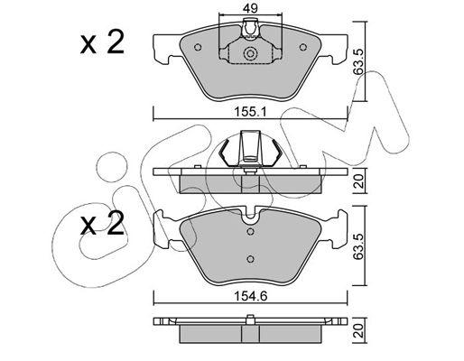 23793 CIFAM für Verschleißwarnanzeiger vorbereitet Höhe 2: 63,5mm, Breite 2: 155,1mm, Dicke/Stärke 1: 20,0mm, Dicke/Stärke 2: 20,0mm Bremsbelagsatz, Scheibenbremse 822-557-0 günstig kaufen