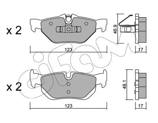 23927 CIFAM für Verschleißwarnanzeiger vorbereitet Höhe 2: 48,1mm, Breite 2: 123,0mm, Dicke/Stärke 1: 17,0mm, Dicke/Stärke 2: 17,0mm Bremsbelagsatz, Scheibenbremse 822-642-0 günstig kaufen
