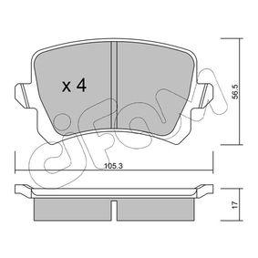 D1348 CIFAM exkl. Verschleißwarnkontakt, nicht für Verschleißwarnanzeiger vorbereitet Dicke/Stärke 1: 17,0mm Bremsbelagsatz, Scheibenbremse 822-806-0 günstig kaufen
