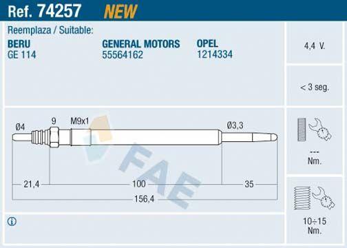 FAE Glühkerze 74257