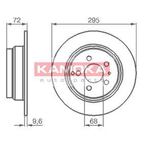 1031104 KAMOKA Hinterachse, Voll, mit Schrauben Ø: 295mm, Lochanzahl: 5, Bremsscheibendicke: 10mm Bremsscheibe 1031104 günstig kaufen