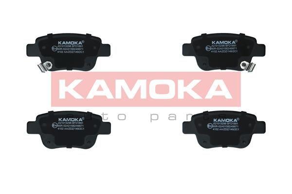 23622 KAMOKA Hinterachse, mit akustischer Verschleißwarnung Höhe: 46mm, Breite: 102mm, Dicke/Stärke: 17mm Bremsbelagsatz, Scheibenbremse JQ1013298 günstig kaufen