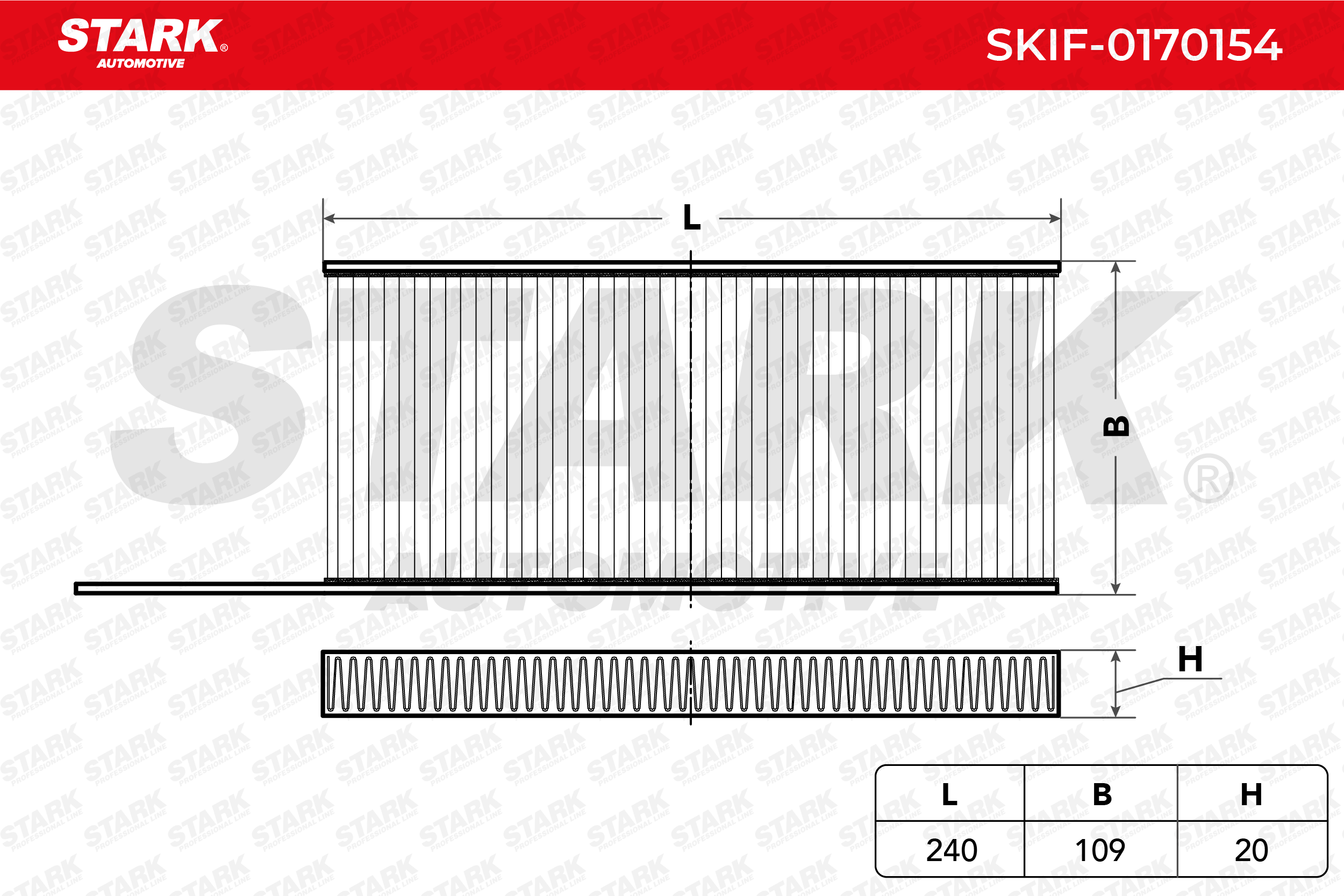 RENAULT KANGOO 2020 Innenraumluftfilter - Original STARK SKIF-0170154 Breite: 109mm, Höhe: 20mm, Länge: 240mm