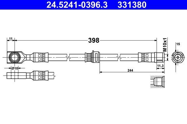 OPEL ASTRA 2014 Bremsschläuche - Original ATE 24.5241-0396.3 Länge: 398mm, Innengewinde: M10x1mm