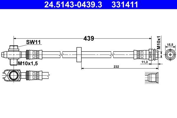 24.5143-0439.3 Bremsschlauch ATE in Original Qualität