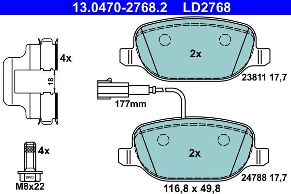 24788 ATE Ceramic mit integriertem Verschleißwarnkontakt, mit Bremssattelschrauben Höhe: 49,8mm, Breite: 116,8mm, Dicke/Stärke: 17,7mm Bremsbelagsatz, Scheibenbremse 13.0470-2768.2 günstig kaufen