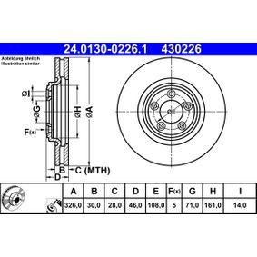 430226 ATE belüftet, beschichtet, hochgekohlt Ø: 326,0mm, Lochanzahl: 5, Bremsscheibendicke: 30,0mm Bremsscheibe 24.0130-0226.1 günstig kaufen