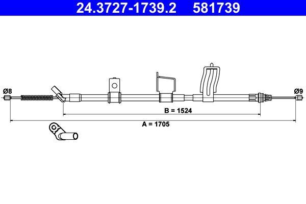 Handbremse 24.3727-1739.2 Nissan QASHQAI 2017
