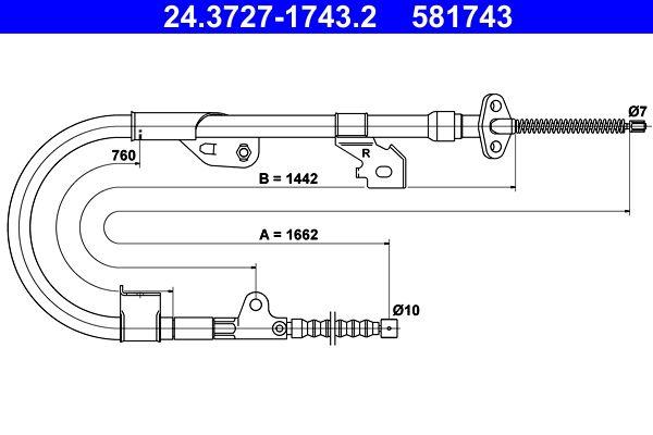 581743 ATE 1662mm, 1662mm Länge: 1662mm Seilzug, Feststellbremse 24.3727-1743.2 günstig kaufen
