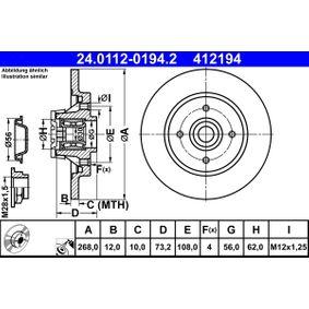 24.0112-0194.2 Bremsscheibe ATE - Markenprodukte billig