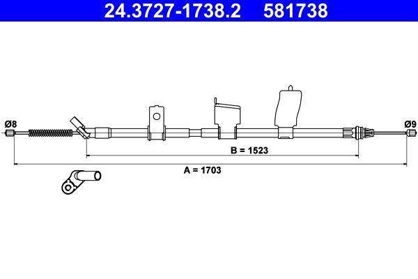 Handbremse 24.3727-1738.2 Nissan QASHQAI 2017