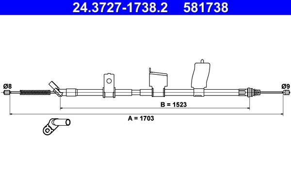Handbremse 24.3727-1738.2 Nissan QASHQAI 2016