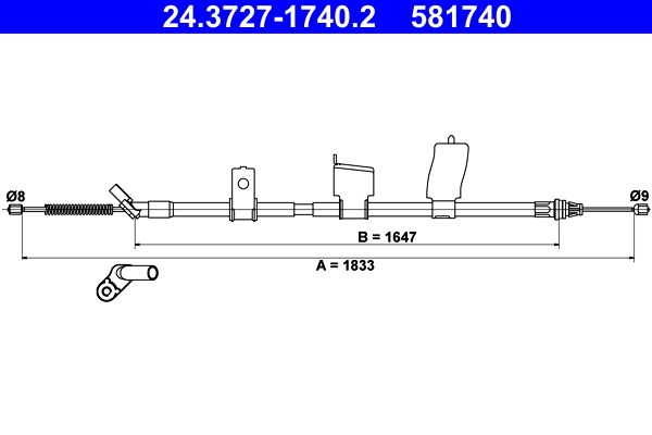 Handbremse 24.3727-1740.2 Nissan QASHQAI 2017