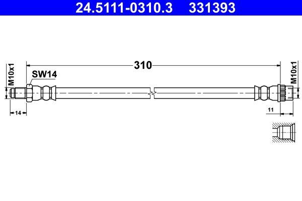 Original DACIA Bremsschlauch 24.5111-0310.3