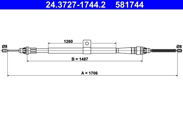 581744 ATE 1706mm, 1706mm Länge: 1706mm Seilzug, Feststellbremse 24.3727-1744.2 günstig kaufen