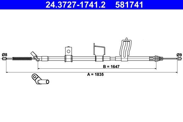 Handbremse 24.3727-1741.2 Nissan QASHQAI 2017