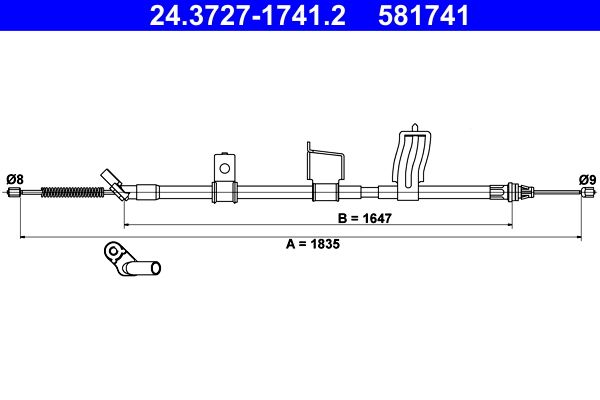 Handbremse 24.3727-1741.2 Nissan QASHQAI 2016