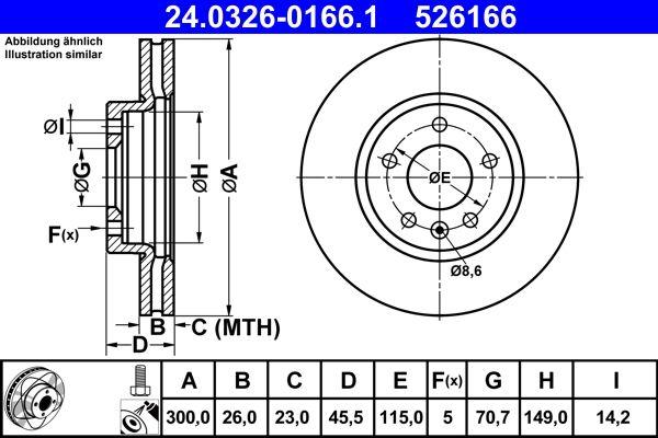 OPEL ASTRA 2015 Bremsscheibe - Original ATE 24.0326-0166.1 Ø: 300,0mm, Lochanzahl: 5, Bremsscheibendicke: 26,0mm