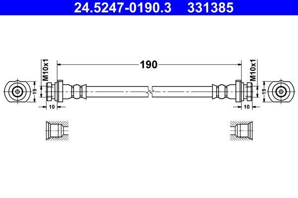 Bremsschläuche 24.5247-0190.3 Nissan QASHQAI 2016