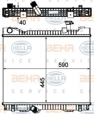 Kup HELLA Chłodnica, układ chłodzenia silnika 8MK 376 751-221 ciężarówki