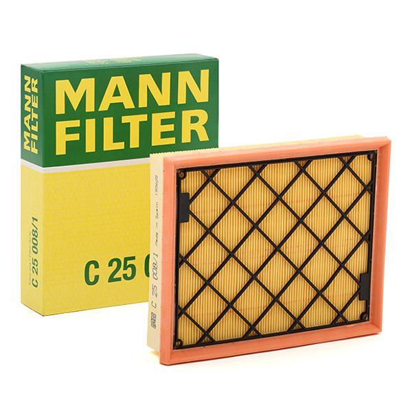C 25 008/1 MANN-FILTER Länge: 199mm, Breite: 246mm, Höhe: 50mm Luftfilter C 25 008/1 günstig kaufen