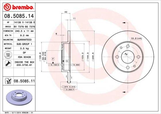 08.5085.11 Brake Rotors BREMBO - Cheap brand products