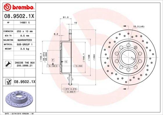 Buy original Brake rotors set BREMBO 08.9502.1X