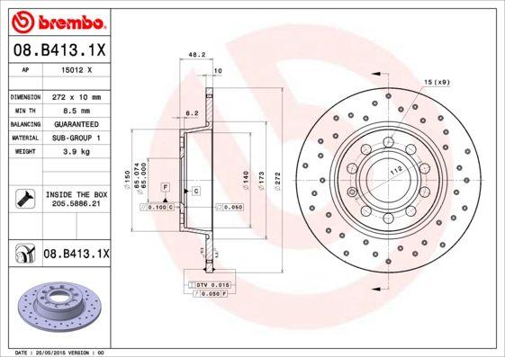 08.B413.1X Disque de frein BREMBO Test