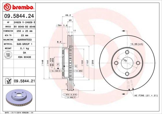 09.5844.21 BREMBO COATED DISC LINE Innenbelüftet, beschichtet Ø: 255mm, Lochanzahl: 4, Bremsscheibendicke: 25mm Bremsscheibe 09.5844.21 günstig kaufen