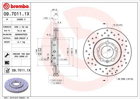 09.7011.1X Disco freno BREMBO Test