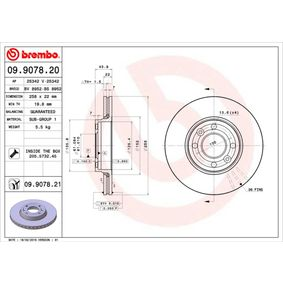 09.9078.20 Brake Disc BREMBO - Cheap brand products