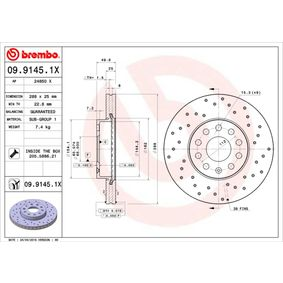 09.9145.1X Disque de frein BREMBO - Produits de marque bon marché