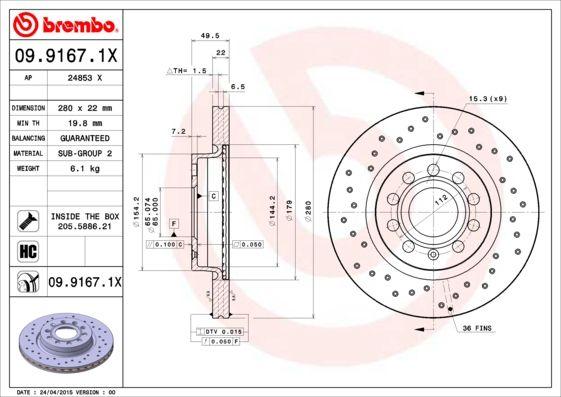 Achetez Disque BREMBO 09.9167.1X (Ø: 280mm, Nbre de trous: 5, Épaisseur du disque de frein: 22mm) à un rapport qualité-prix exceptionnel