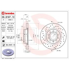 09.9167.1X BREMBO BREMBO XTRA LINE Perforated / Vented, Coated, High-carbon, with screws Ø: 280mm, Num. of holes: 5, Brake Disc Thickness: 22mm Brake Disc 09.9167.1X cheap