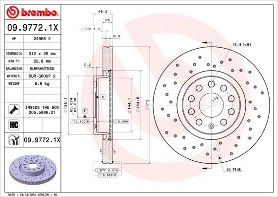 09.9772.1X Disco de freno BREMBO - Productos de marca económicos