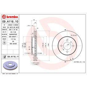 09.A116.11 BREMBO COATED DISC LINE Ventilación interna, revestido Ø: 256mm, Núm. orificios: 4, Espesor disco freno: 24mm Disco de freno 09.A116.11 a buen precio